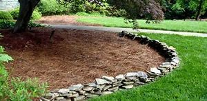 Mulch bed with stone border