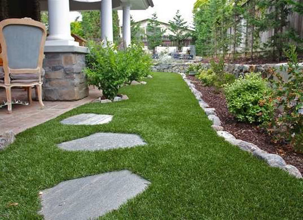 Artificial grass in a landscape